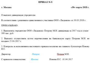 Выплата дивидендов учредителям ООО в 2019 году