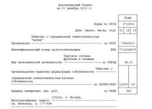пример нулевого бухгалтерского баланса ООО на 2019 год