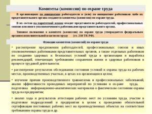 Особенности формирования и функционирования комиссии (комитета) по охране труда