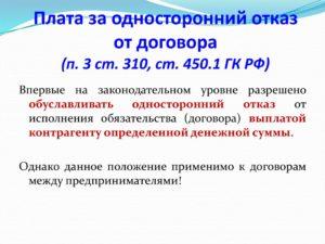 Односторонний отказ от договора (ст. 450.1)