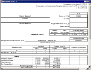 Товарный отчет по форме ТОРГ-29