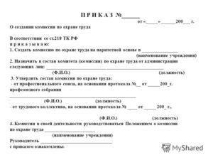 Приказ о создании комиссии (комитета) по охране труда