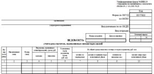 пример заполнения ведомости по форме ИНВ-26