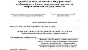 Типовая форма трудового договора для микропредприятий