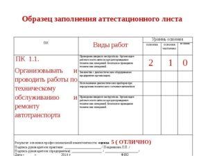 пример и правила заполнения аттестационного листа