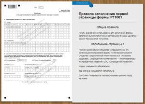 пример заполнения новой формы P11001 в 2019 году