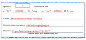 пример приказа на командировку в 2019 году
