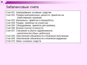 Забалансовый счет 009 в бухгалтерском учете