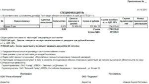 Спецификация к договору поставки