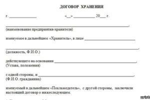 Договор хранения, образец и рекомендации по подготовке документа