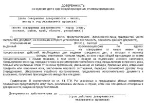 Доверенность на ведение административных дел в суде общей юрисдикции от имени юридического лица