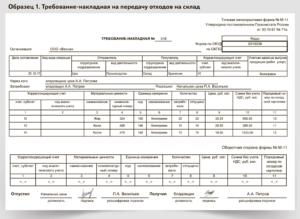 пример требования-накладной по форме М-11