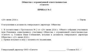 пример приказа о назначении генерального директора