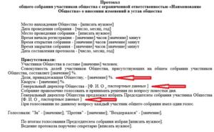 Протокол общего собрания участников  по поводу внесения изменений в устав