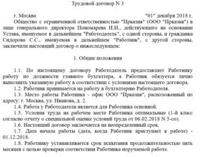 Трудовой договор с главным бухгалтером на 2019 год