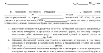 пример решения единственного участника об одобрении крупной сделки