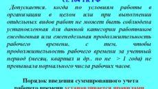 Суммированный учет рабочего времени согласно ТК РФ
