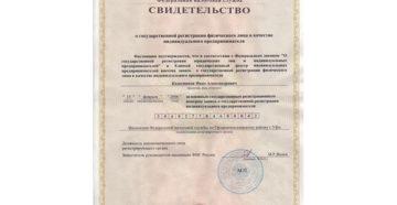 Реквизиты свидетельства о регистрации в качестве индивидуального предпринимателя