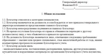 Пример составления должностной инструкции бухгалтера